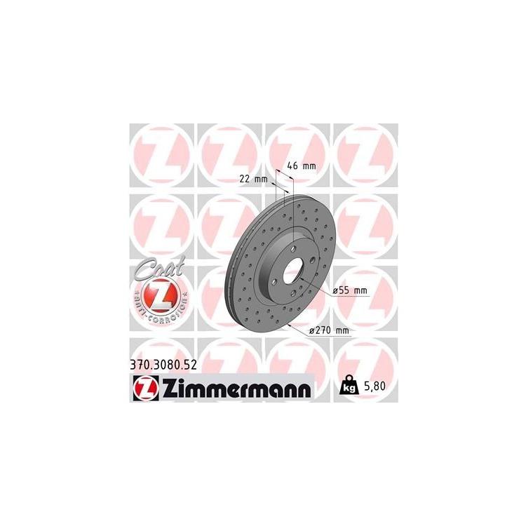 1 Zimmermann Sportbremsscheibe 370.3080.52 Mazda Mx-5