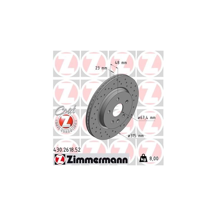 Zimmermann SPORT Bremsscheiben OPEL INSIGNIA A 17 Zoll J61 vorne hinten
