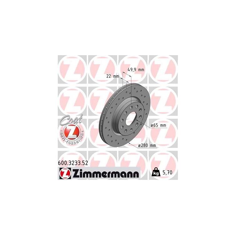 1 Zimmermann Sportbremsscheibe Audi Seat Skoda VW
