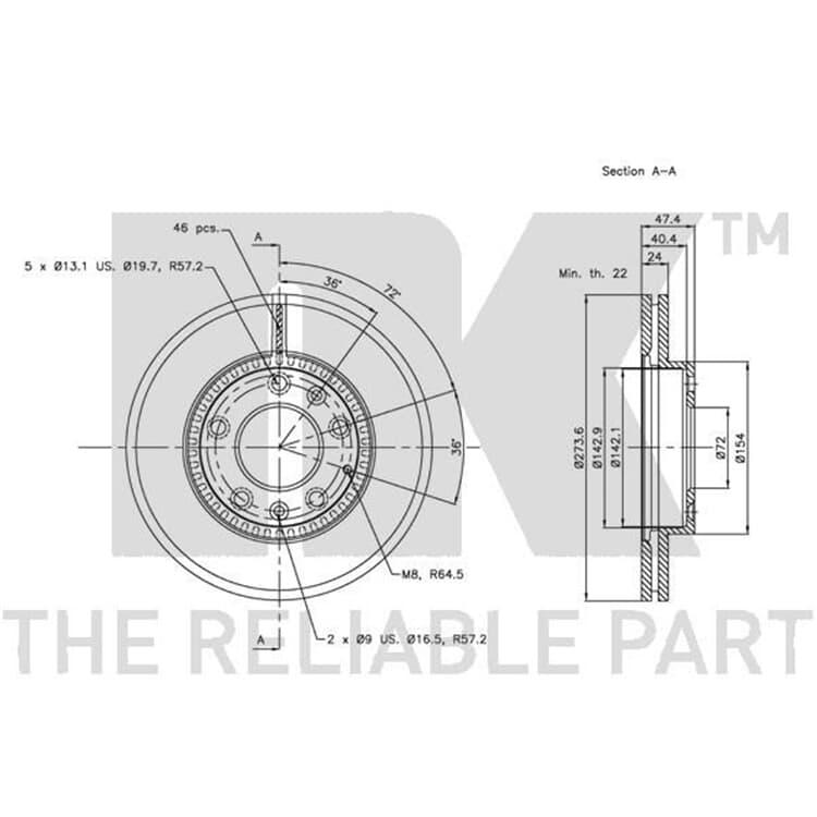 2 NK Bremsscheiben hinten Audi A3 Seat Alhambra Skoda Yeti VW CC Tiguan