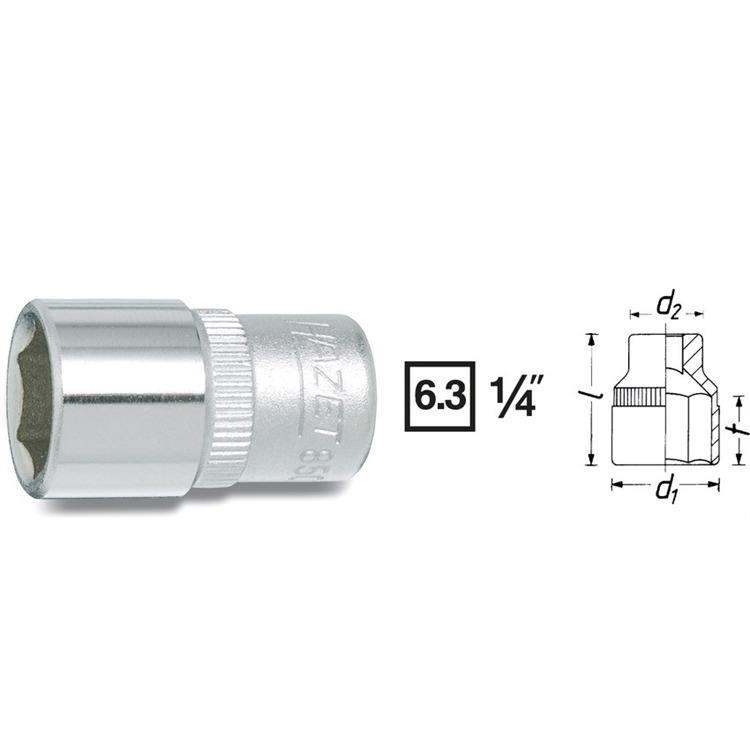 Hazet 1/4 Zoll 6-Kant Stecknuss 8 mm