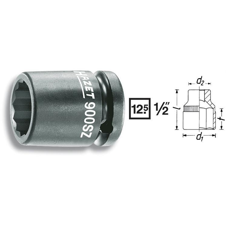 Hazet 1/2 Zoll Kraft Steckschlüssel Doppel 6-Kant 30mm