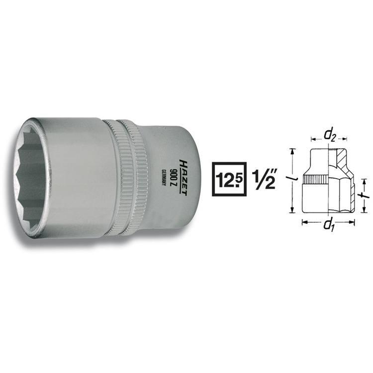 Hazet 1/2 Zoll  Doppel 6-Kant Steckschlüssel 14mm