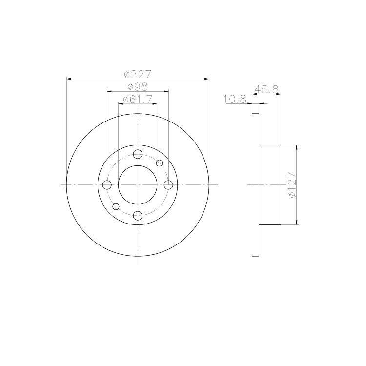 2 Textar Bremsscheiben 227mm vorne Fiat Uno X1/9 Lancia Delta