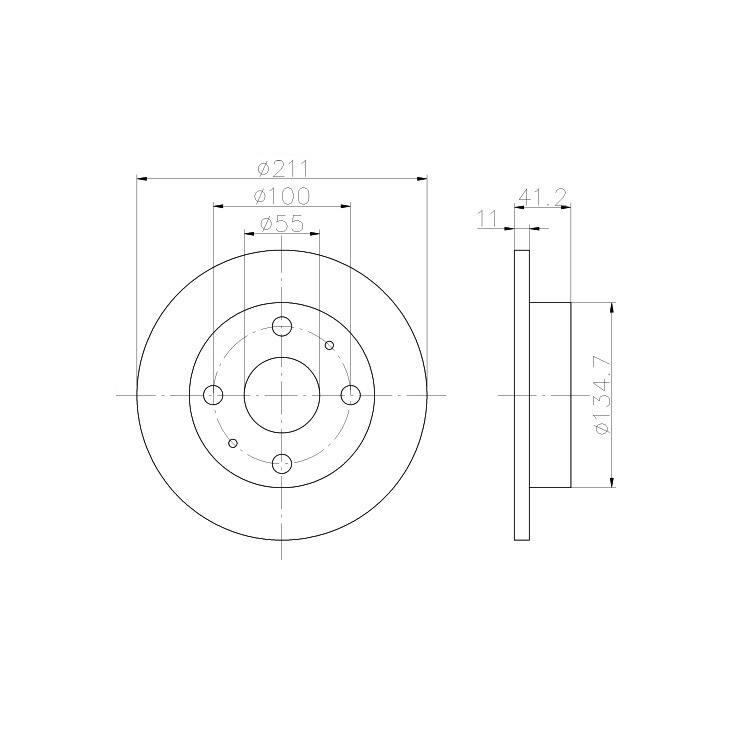 2 Textar Bremsscheiben 211mm vorne Daihatsu Cuore