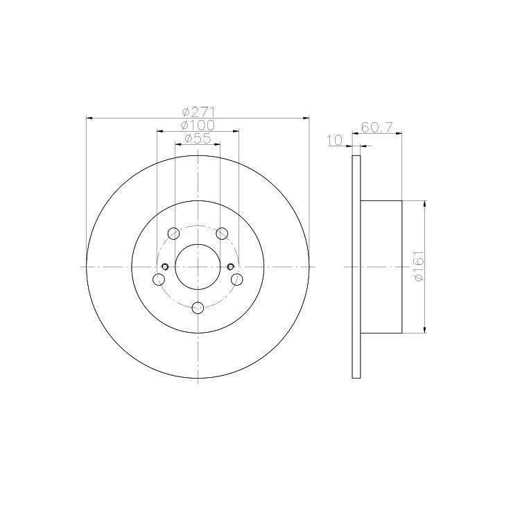 2 Textar Bremsscheiben 271mm hinten  Toyota Avensis T22 ab 07/01