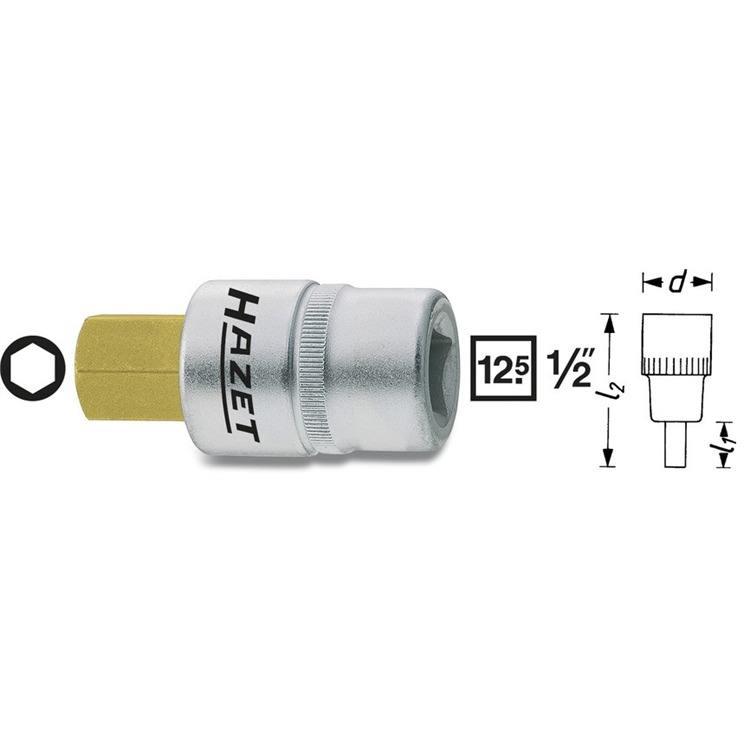 Hazet Bit Einsatz 1/2 Zoll 6-Kant 6mm beschichtet